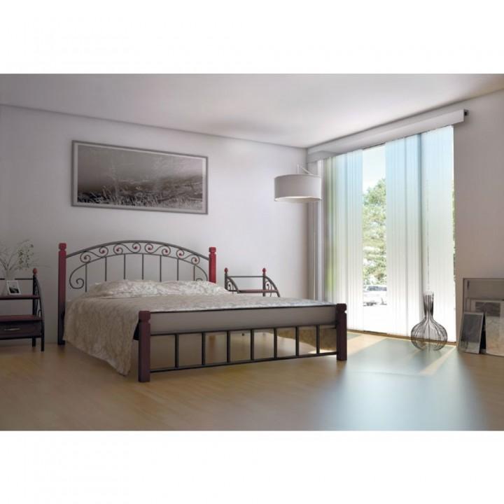 638, Кровать Афина на деревянных ножках, , 3 824.00 грн, Афина, Металлдизайн, Кровати металлические