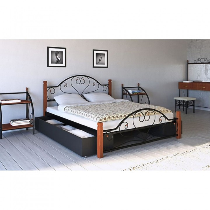 630, Кровать Джоконда на деревянных ножках, , 3 825.00 грн, Джоконда, Металлдизайн, Кровати металлические